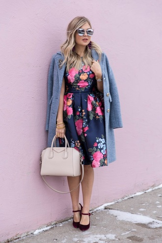 suburban faux-pas blogger jacket dress sunglasses shoes jewels floral dress handbag givenchy bag blue coat winter outfits