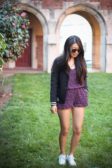 baseball jacket sunglasses jacket blogger converse joyful outfits