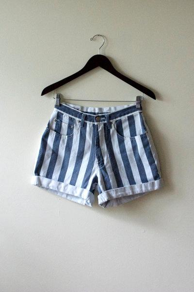 Blue and White Striped High Waist Denim by ElleryLaneVintage