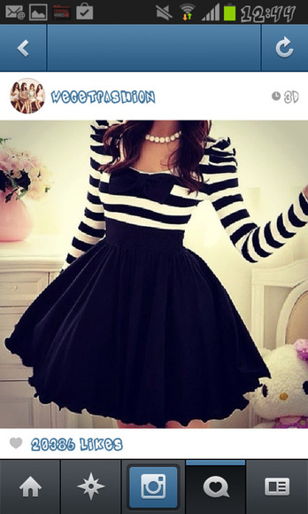 dress striped black and white bow long sleeve dress netted skirt beautiful