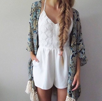 romper jumpsuit white romper white lace lace romper white lace romper kimono flowered flowers cute outfits outfit