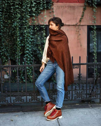 shoes tumblr boots brown boots denim jeans blue jeans scarf brown scarf winter boots flat boots