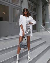 skirt,mini skirt,sequins,metallic skirt,metallic,boots,white blazer,white blouse,sunglasses,earrings