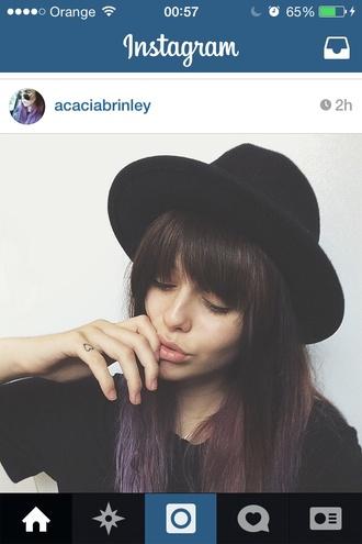 grunge acacia black hat brinley purple hair acacia brinley