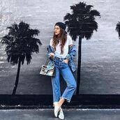jeans,tumblr,t-shirt,white t-shirt,denim jacket,jacket,blue jacket,cap,black cap,cropped jeans,bag,gucc,gucci,gucci bag,dionysus,silver shoes,flats,glasses