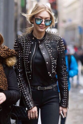 sunglasses gigi hadid mirrored sunglasses streetstyle spiked leather jacket embroidered jacket jacket embellished jacket embellished leather jacket model model off-duty sunnies glasses accessories accessory