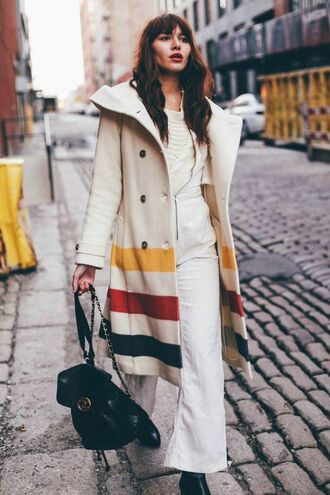 coat tumblr printed coat wool coat wool pants white pants overalls dungarees denim overalls bag black bag backpack black backpack