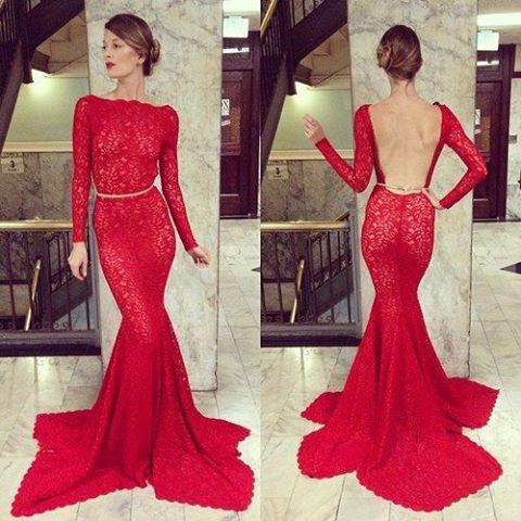 2014 New Design Elegant Red Long Sleeve Lace Prom Dresses Bateau ...