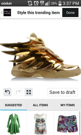 shoes gold shoes shiny shoes winged shoes