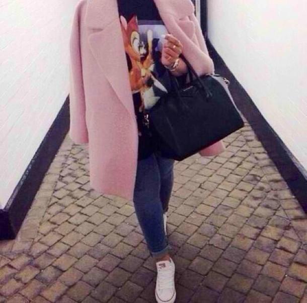 bag t-shirt jacket coat bambi white black shirt summer outfits summer top style givenchy loren michael kors converse pink