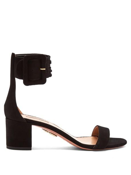 Aquazzura sandals suede black shoes