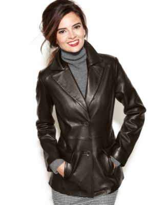 Anne Klein Leather Blazer Quilted Shoulder - Jackets & Blazers - Women - Macy's