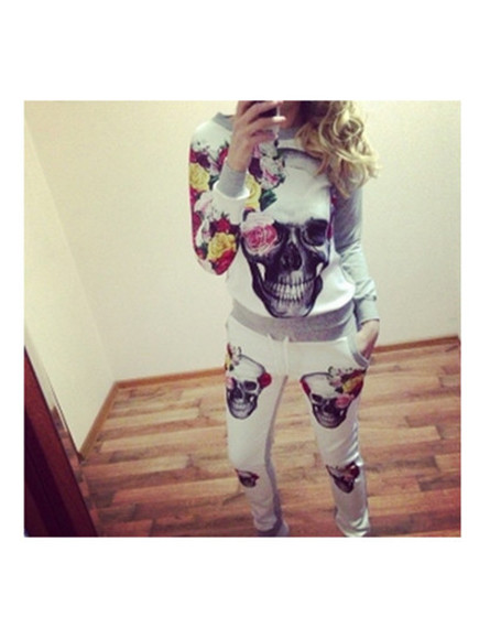 skull blogger top wow tracksuit sweater floral jumpsuit romper luxury swag elegant model