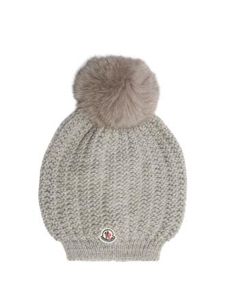 fur hat beanie wool light grey