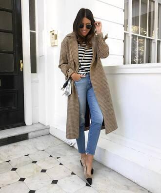 coat grey coat tumblr denim jeans blue jeans top stripes striped top bag crossbody bag sunglasses round sunglasses