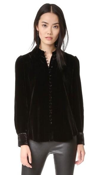blouse button up blouse noir victorian velvet top