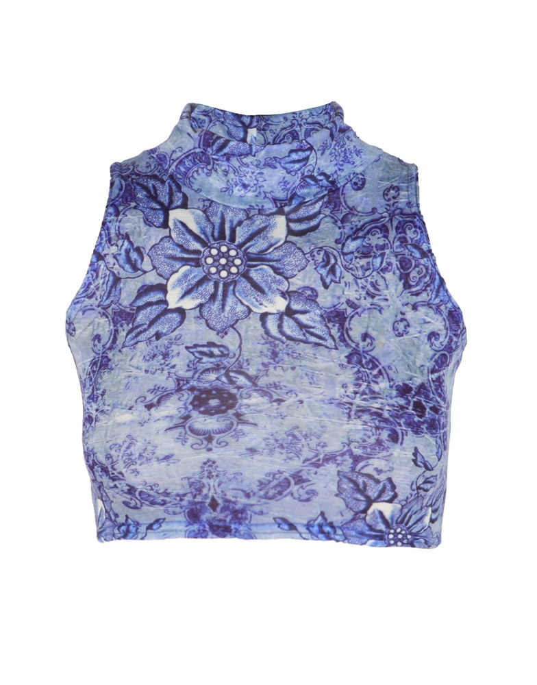 Blue Floral Print High Neck Crop Top