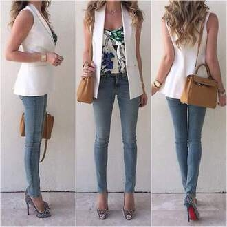 jeans heels high heels black heels bag cross bag vest blouse white fashion amazing gorgeous style watch camo bag