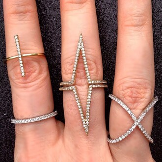 jewels jewel cult jewelry ring knuckle ring bling stacked jewelry stacked ring gold crystal silver