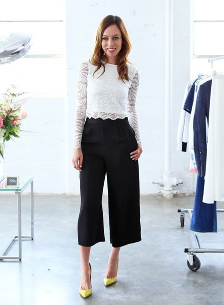 Pants: yellow pumps, black culottes, high waisted pants, wide-leg ...