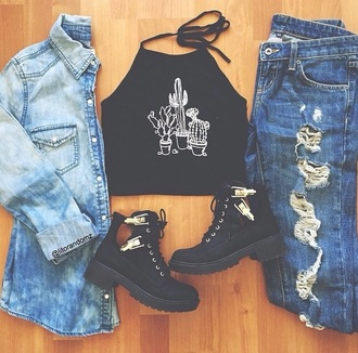 top shoes jeans tank top crop tops cactus black top white top black and white earphones coat shorts denim jacket black boots ankle boots grunge grunge wishlist fashion inspo swag black black crop top jacket