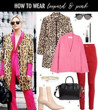 dailystylefinds blogger jacket sunglasses make-up sweater jewels shoes bag jeans leopard coat pink sweater ankle boots red pants winter outfits