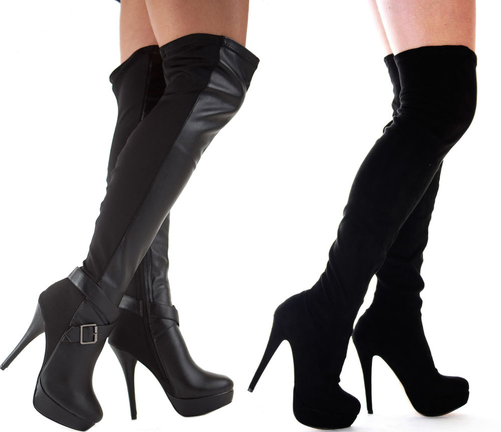 WOMENS LADIES BLACK OVER THE KNEE THIGH HIGH STILETTO HEEL PLATFORM SEXY BOOT SZ