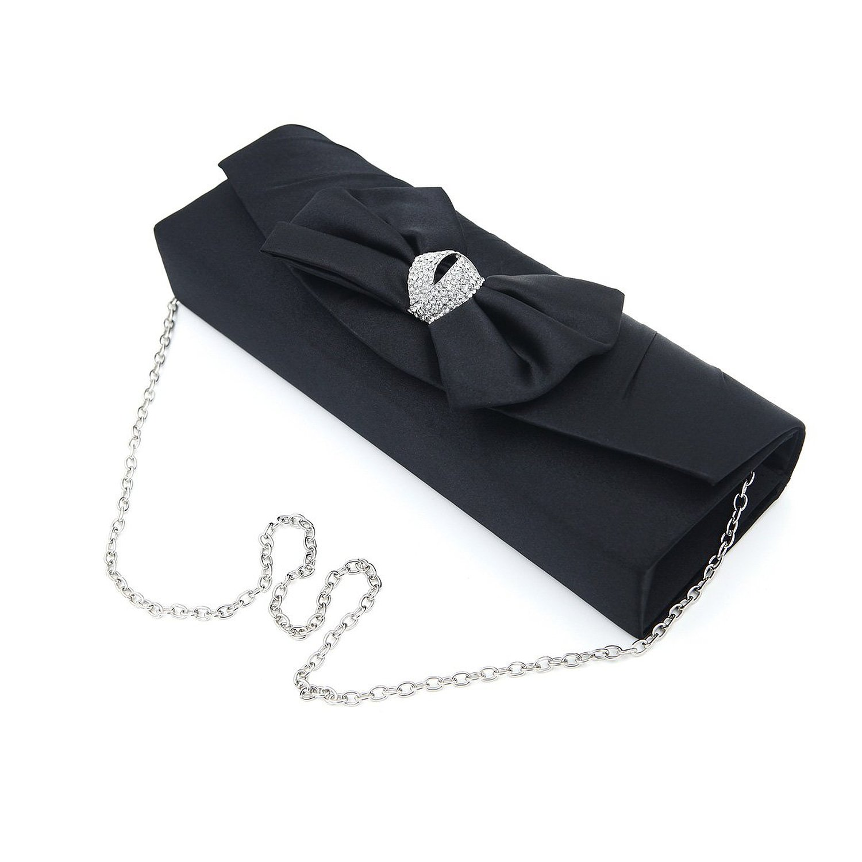 Elegant satin flap bow crystal clutch evening bag, black: handbags: amazon.com