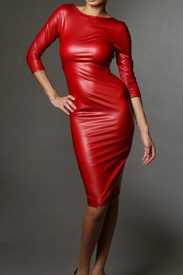 Dress: midi dress, red dress, leather, sexy, leather dress, red ...