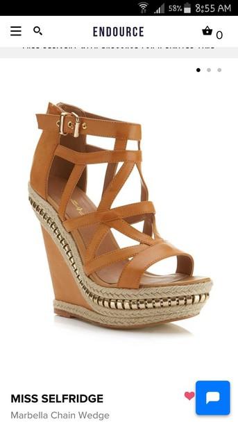 shoes wedges cognac size6 wedge sandals sandals