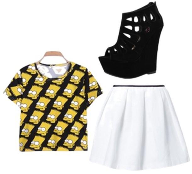1d40b1cea shirt bart simpson skater skirt shoes skirt white black yellow forever 21  outfit white skirt t