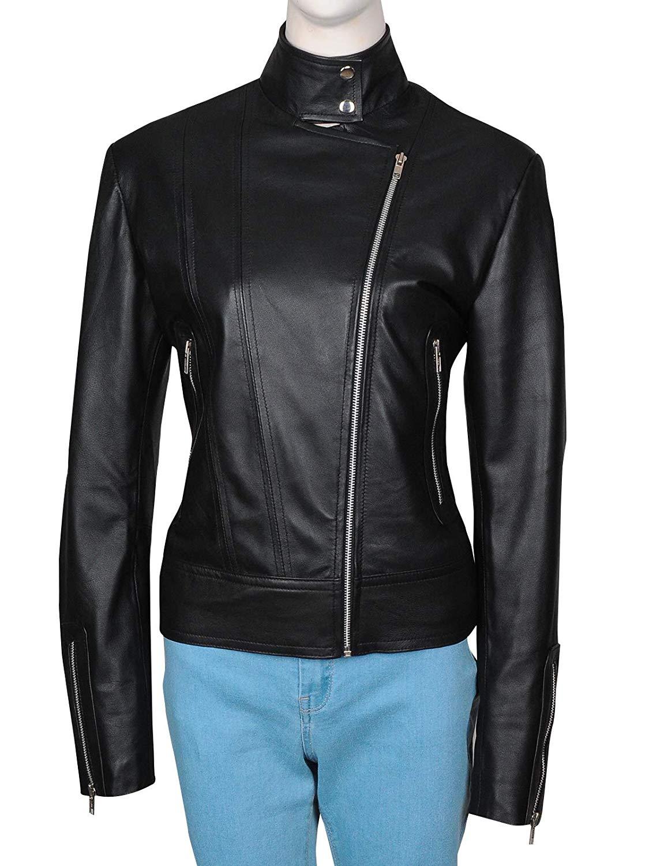 TrendHoop Women's Black Moto Style Genuine Leather Motorcycle Slim Fit Biker Jacket at Amazon Women's Coats Shop
