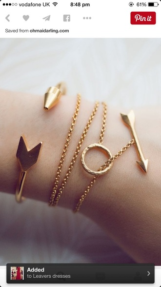 jewels gold arrow necklace bracelets gold bracelet bag