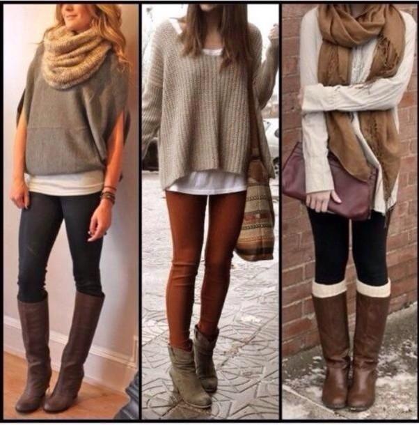 blouse leggings scarf