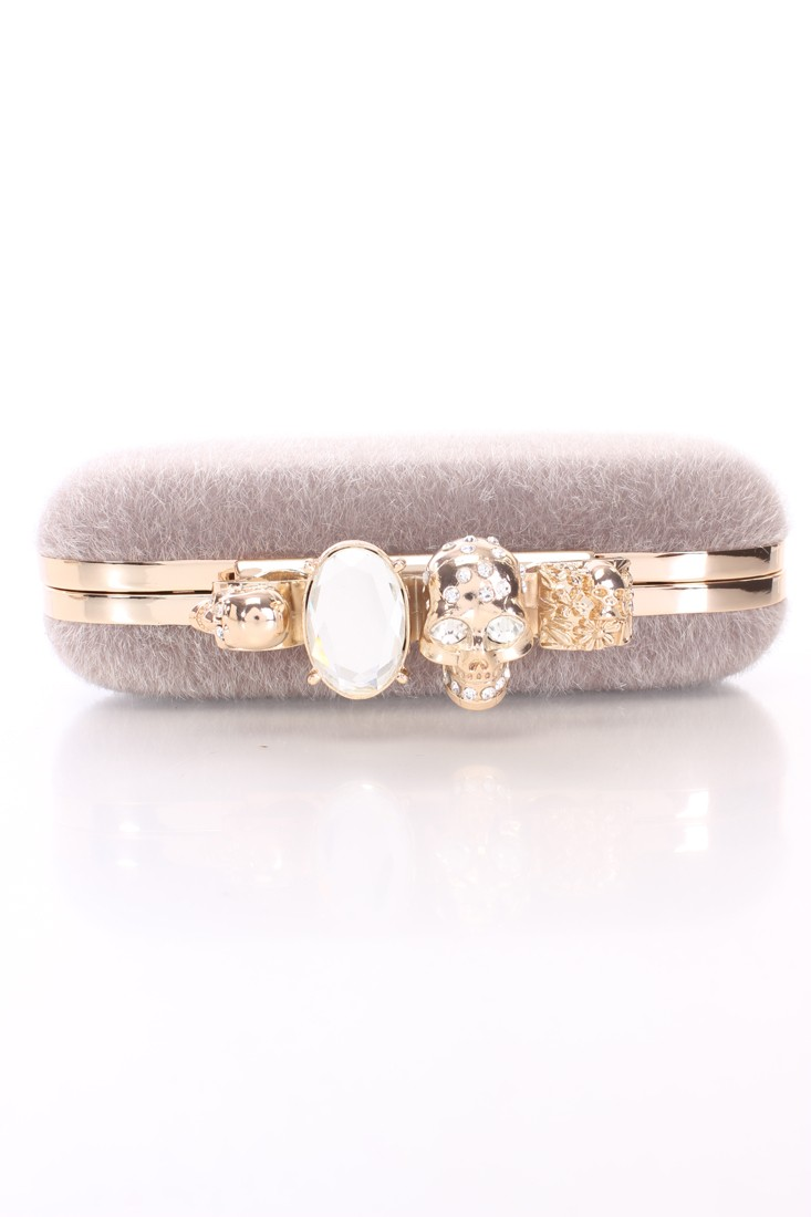 Grey Faux Fur Rhinestone Knuckle Clutch Handbag