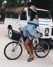 dress,hat,bike,tumblr,summer,sun hat,bag,grey bag,bell sleeves,bell sleeve dress