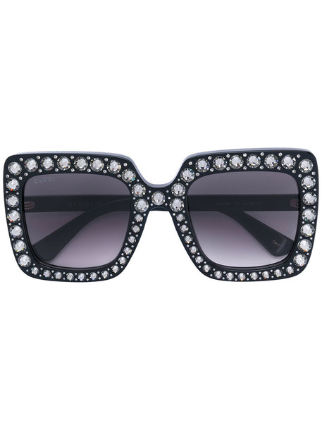 Gucci Eyewear - Oversize square-frame sunglasses with crystals - women - Acetate/Swarovski Crystal - One Size, Black, Acetate/Swarovski Crystal