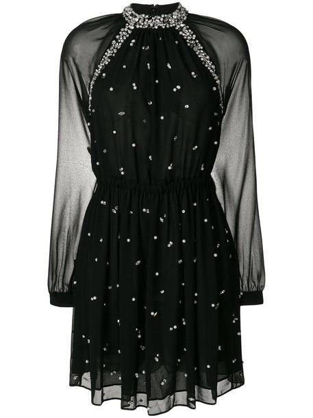 dress embellished dress women pearl embellished black