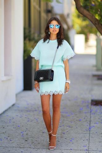 viva luxury skirt top jewels sunglasses bag shoes nail polish