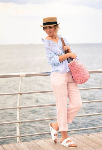 pants pink pants capri pants pink capri pants shirt blue shirt slippers bag pink bag beach bag hat white slippers spring outfits striped shirt birkenstocks