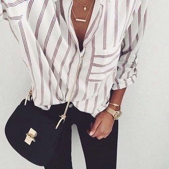 blouse white stripes pop of color elegant casual shirt elegent girly striped top white top white t-shirt red