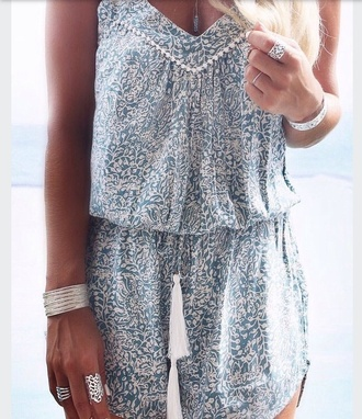 dress it's a short blue and white patterned dress romper summer beach tan gypsy indian aqua white fashion inspo fashion trendy pattern jewelry