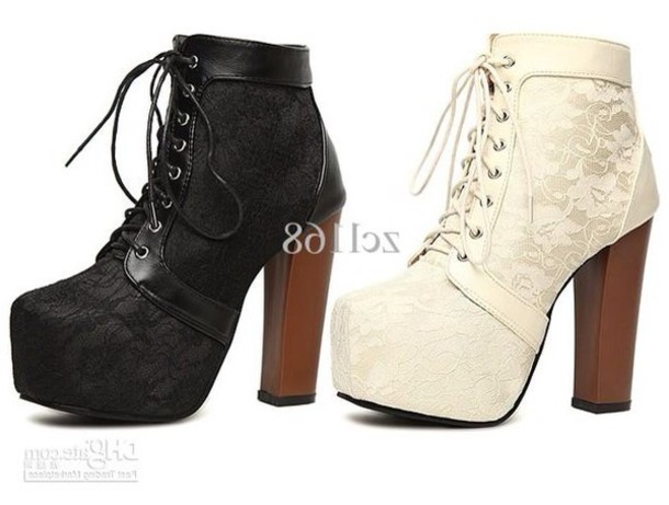 shoes black white lace thick heels