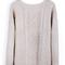 Beige round neck broken stripe cable sweater - sheinside.com