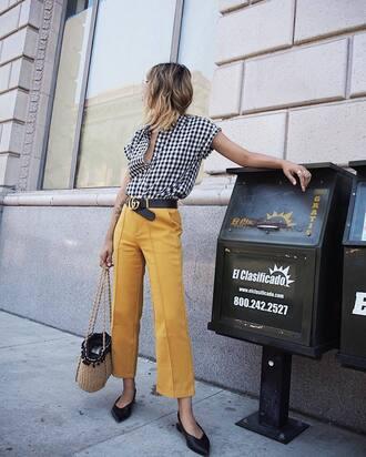 pants yellow yellow pants cropped pants shoes black shoes plaid shirt belt bag