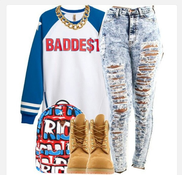 sweater trill high waisted jeans timberlands bad bitches link up jeans baddies ripped jeans baseball tee timberland outfit dope style swag