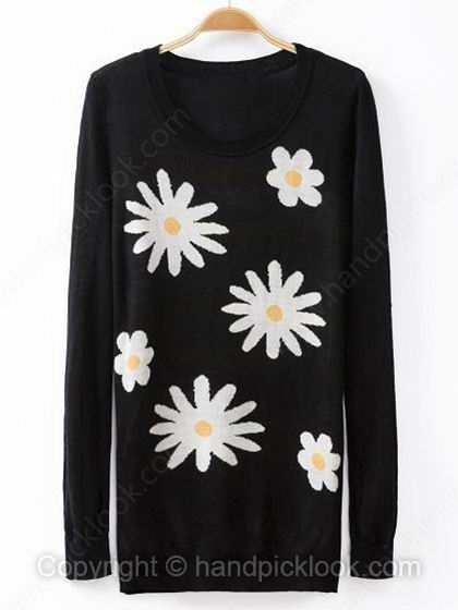 Black Round Neck Long Sleeve Floral Print Sweater - HandpickLook.com