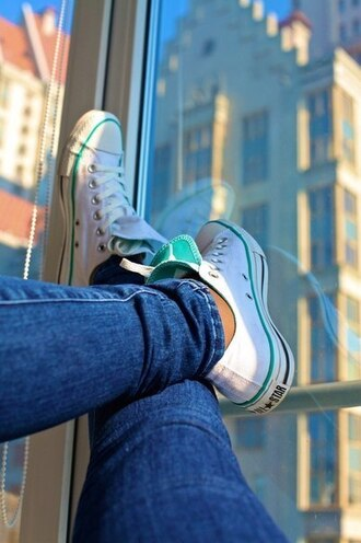 shoes converse white all star blue love