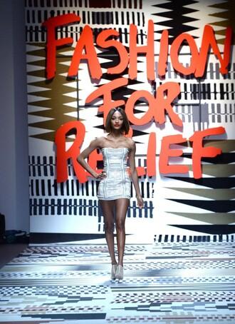 dress strapless jourdan dunn bustier fashion week 2015 mini dress