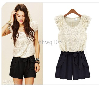 jumpsuit black and white lace short